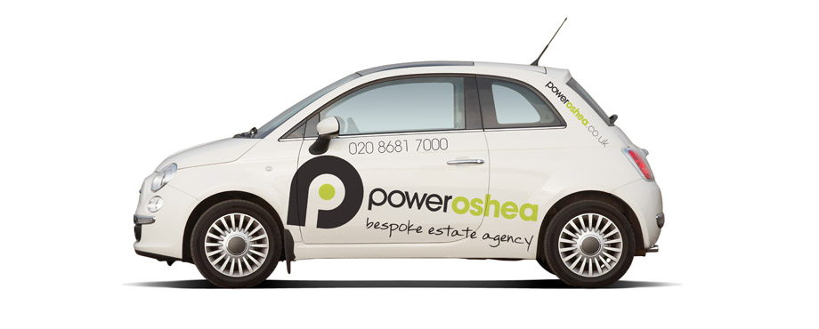 PowerOShea car wrap designed by creative company Pad