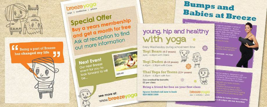 Design agency Pad created these print items for Breeze Yoga