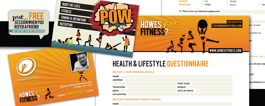 Howes Fitness selection of print items produced by Pad Creative