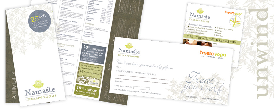 Variety of print items created by Pad for Namaste Spa