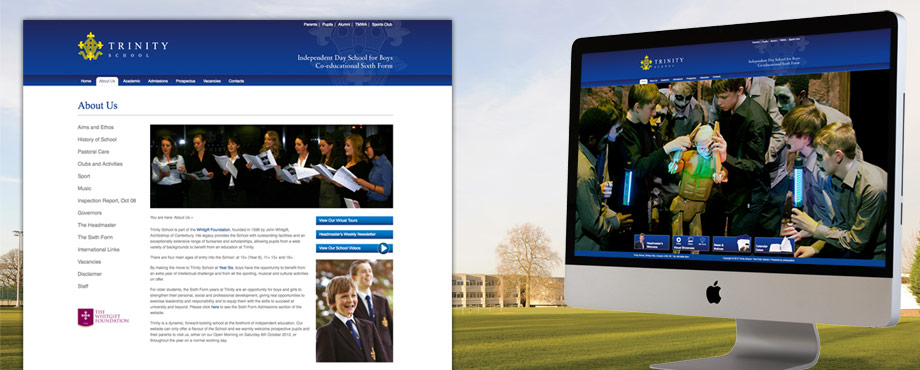 Website development for Trinity School by design agency Pad Creative