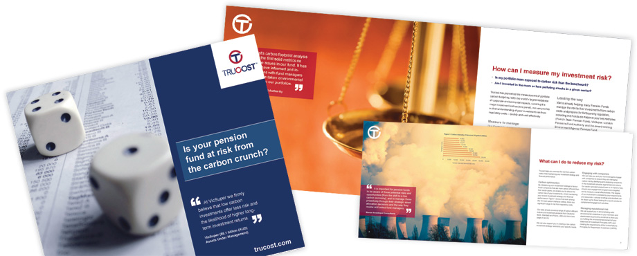 Trucost Pension report designed by creative company Pad