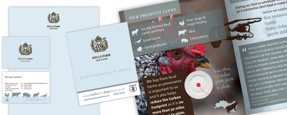 Selection of print items for Wells Farm Fine Foods by design company Pad Creative