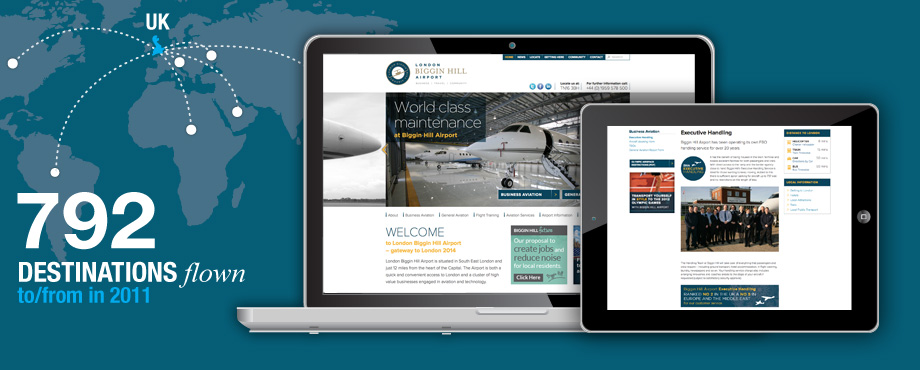 London Biggin Hill website design and development by Pad Creative