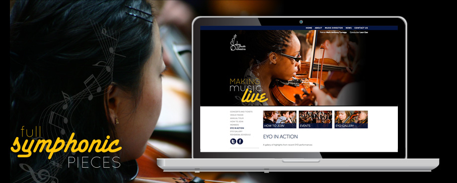 Website design and build by Pad Creative for Ealing Youth Orchestra