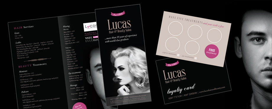A variety of print items designed by Pad Creative for Lucas Hair and Beauty