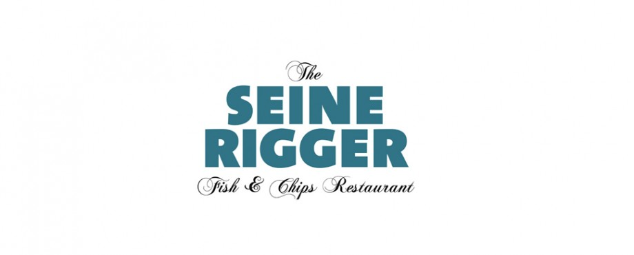 Logo designed for fish and chips restaurant, Seine Rigger, by Pad Creative