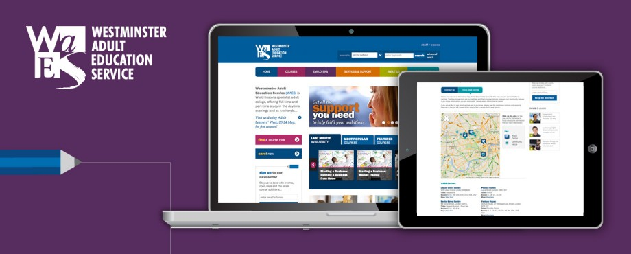 Westminster Adult Education Service website design by Pad Creative