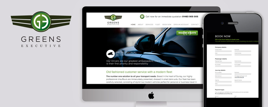 Website design and development for Greens Executive by Pad Creative