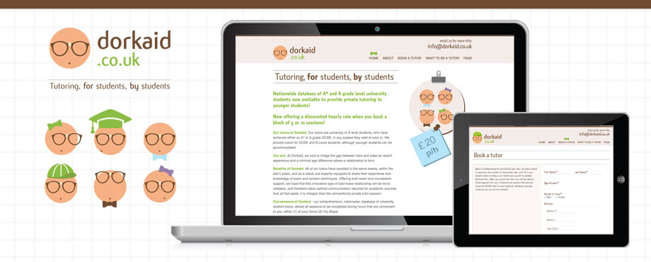Website design by Pad Creative, for online tutoring company Dorkaid