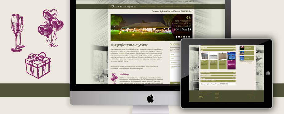 Pad Creative designed this website for Olive Marquees