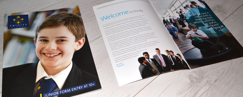 Trinity School brochure created by design agency Pad