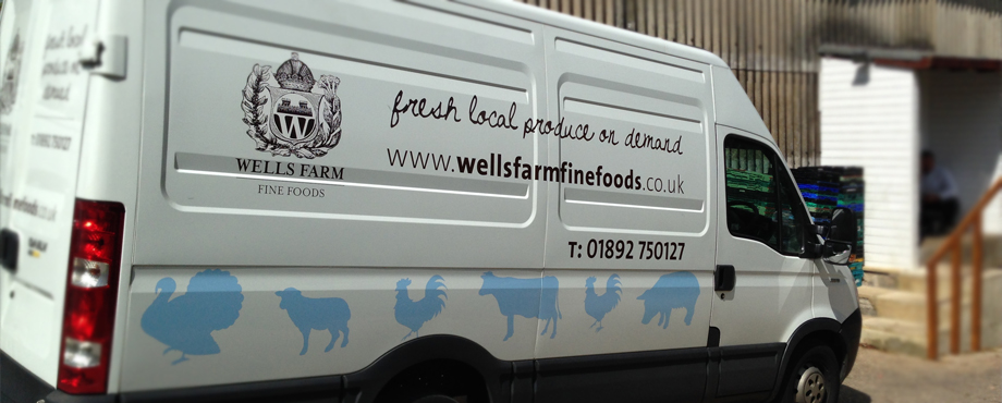 Van wrap designed by Pad Creative for Wells Farm Fine Foods