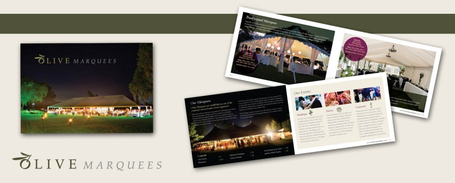 Olive Marquees brochure design by Pad Creative
