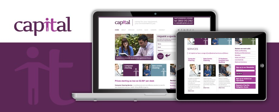 Website development for computer cleaning company Capital by Pad Creative