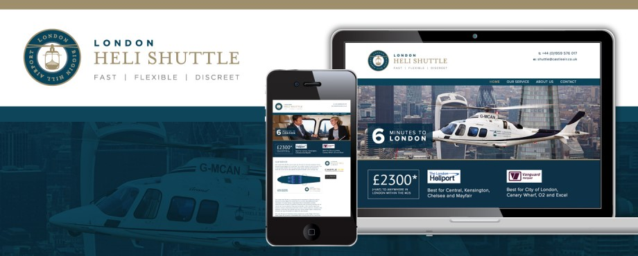 Website design for London Heli Shuttle by company Pad Creative