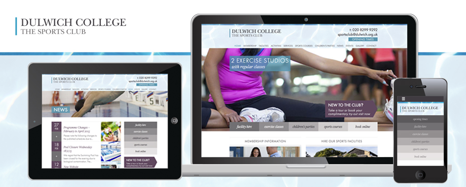 Website design and devlopment for Dulwich College Sports Club by creative company Pad
