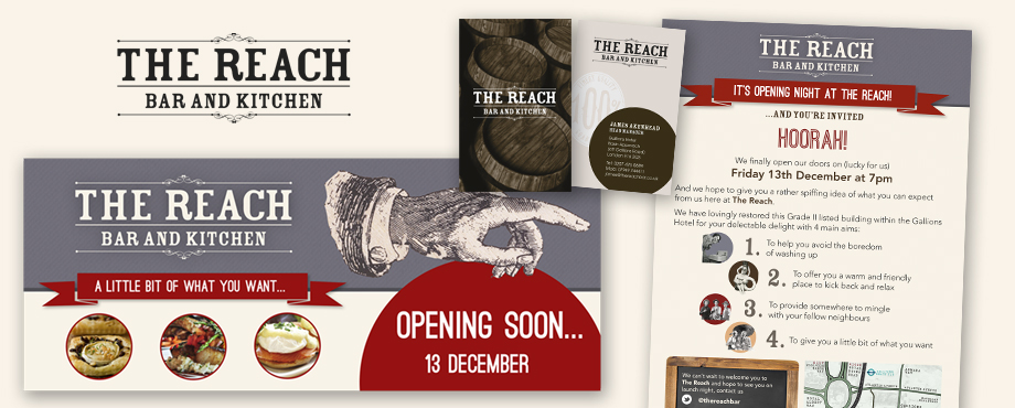 Printed items designed by Pad Creative for The Reach Bar