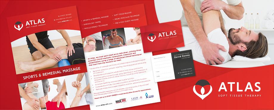 Brochure designed for sport massage therapists Atlas by Pad Creative