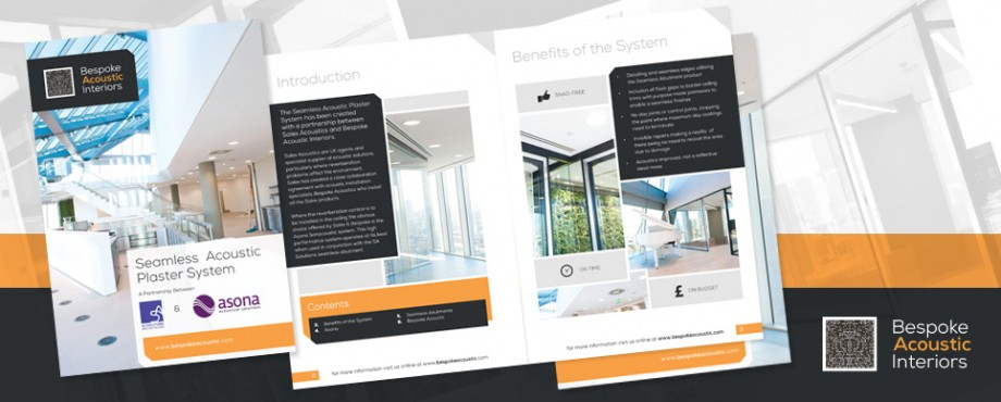 Brochure created for interior designers Bespoke Acoustic by Pad