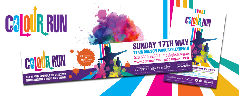 Greenwich and Bexley Colour Run brand design by Pad Creative