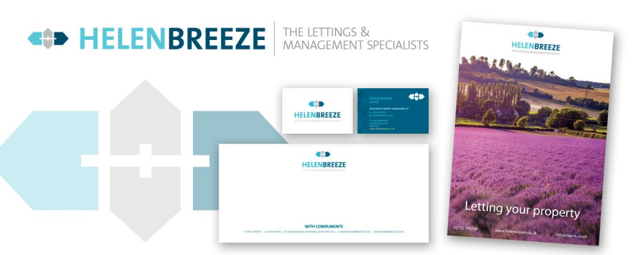Selection of print items for letting and management specialists Helen Breeze by design company Pad Creative