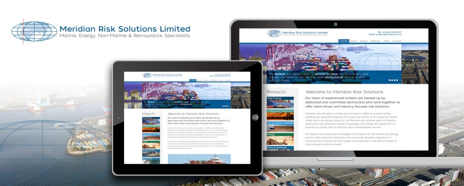 Website design and build for Meridian Risk Solutions by creative company Pad