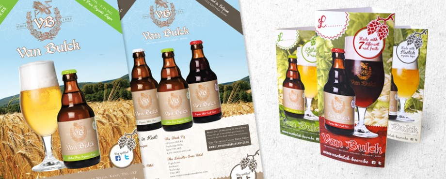 Selection of print items for beer company Van Bulck by branding agency Pad Creative