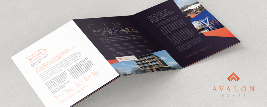 Avalon Homes promotional brochure designed by Pad Creative