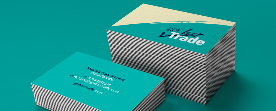 Pad designed these business cards for Get Her Trade