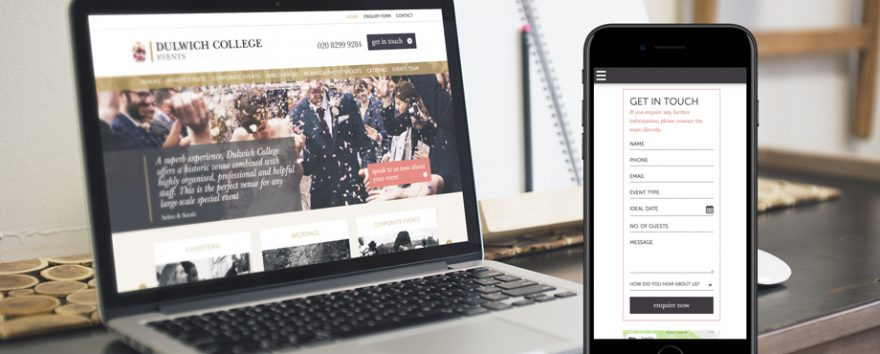 Dulwich College Events website designed and developed by Pad Creative