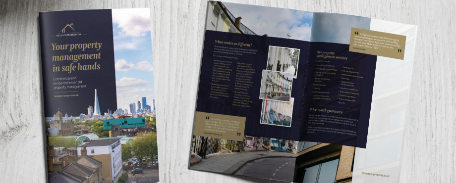 Brochure created for Hexagon Property Co by design agency Pad