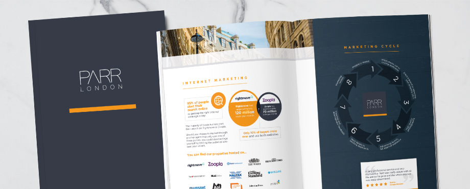 Brochure for Parr London estate agents designed by Pad Creative design agency