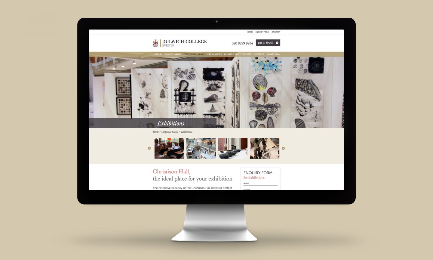 Dulwich College Events Website Design Exhibitions page