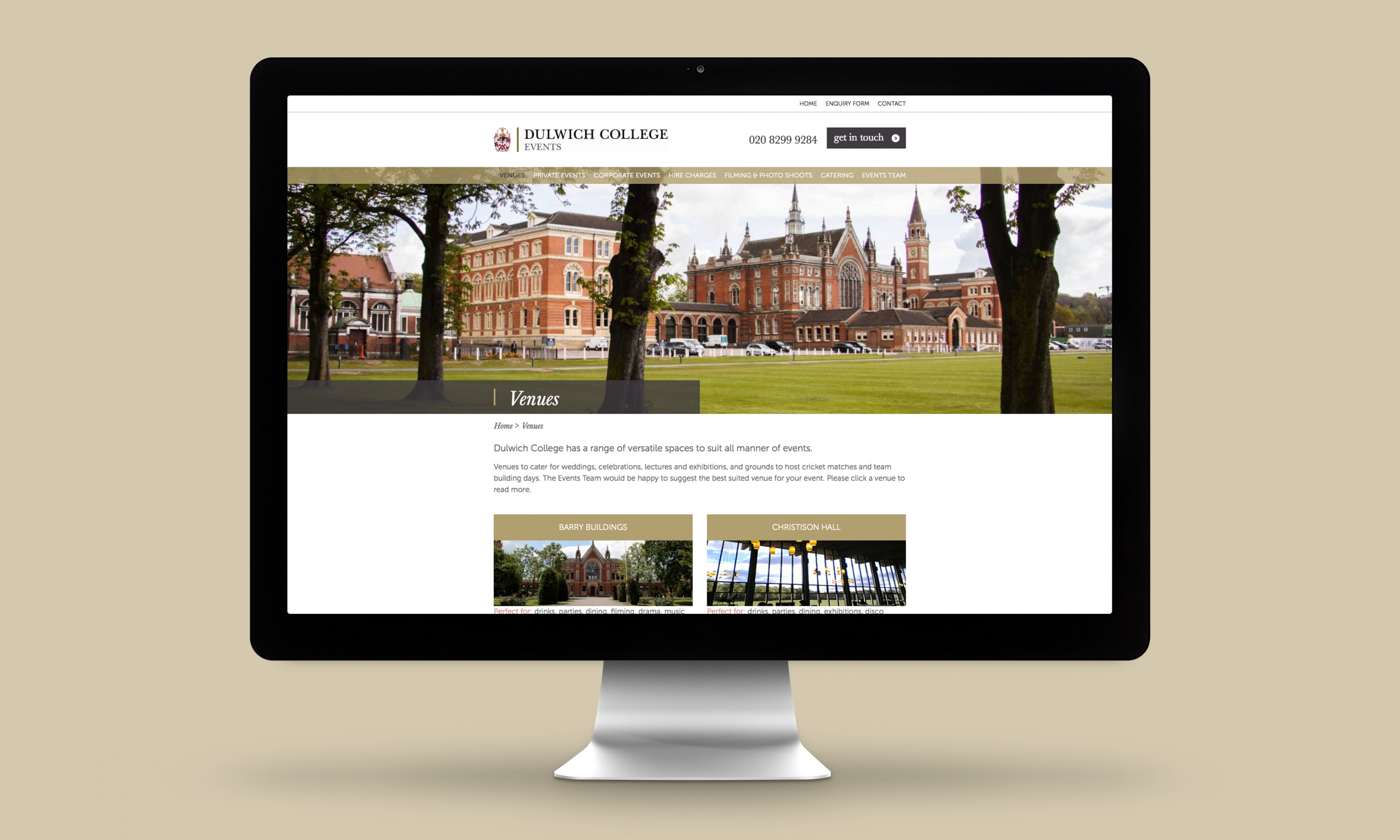 Dulwich College Events Website Design Venues page