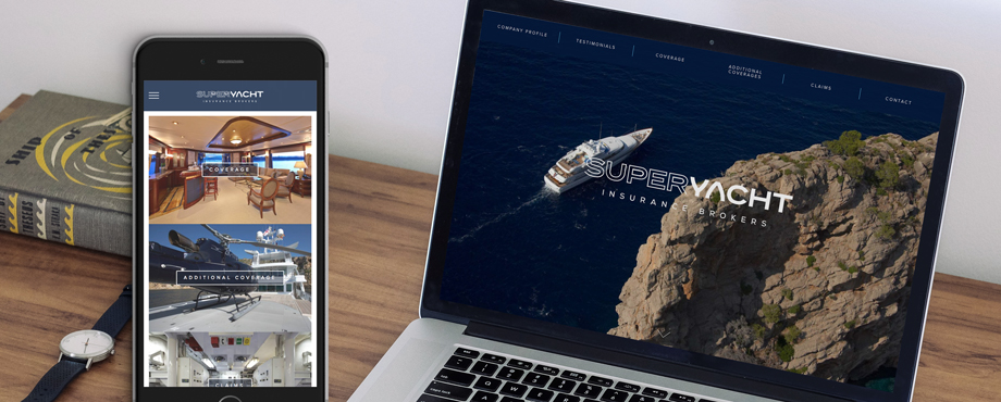 Superyacht Insurance Brokers website designed and built by Pad Creative