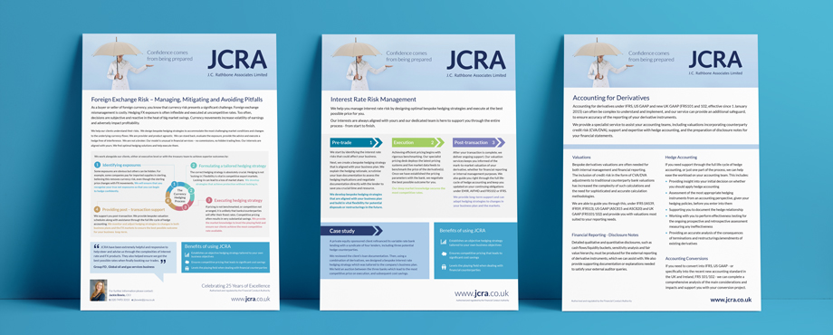 Info sheets for JC Rathbone Associates designed by Pad Creative design agency