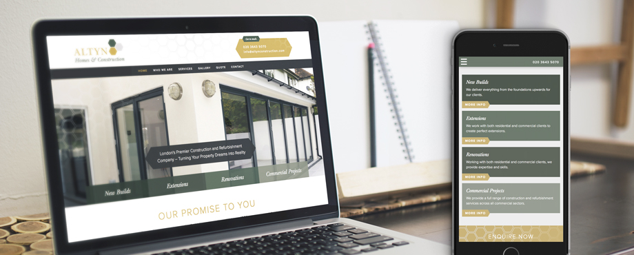 Altyn Homes & Construction responsive web design and build