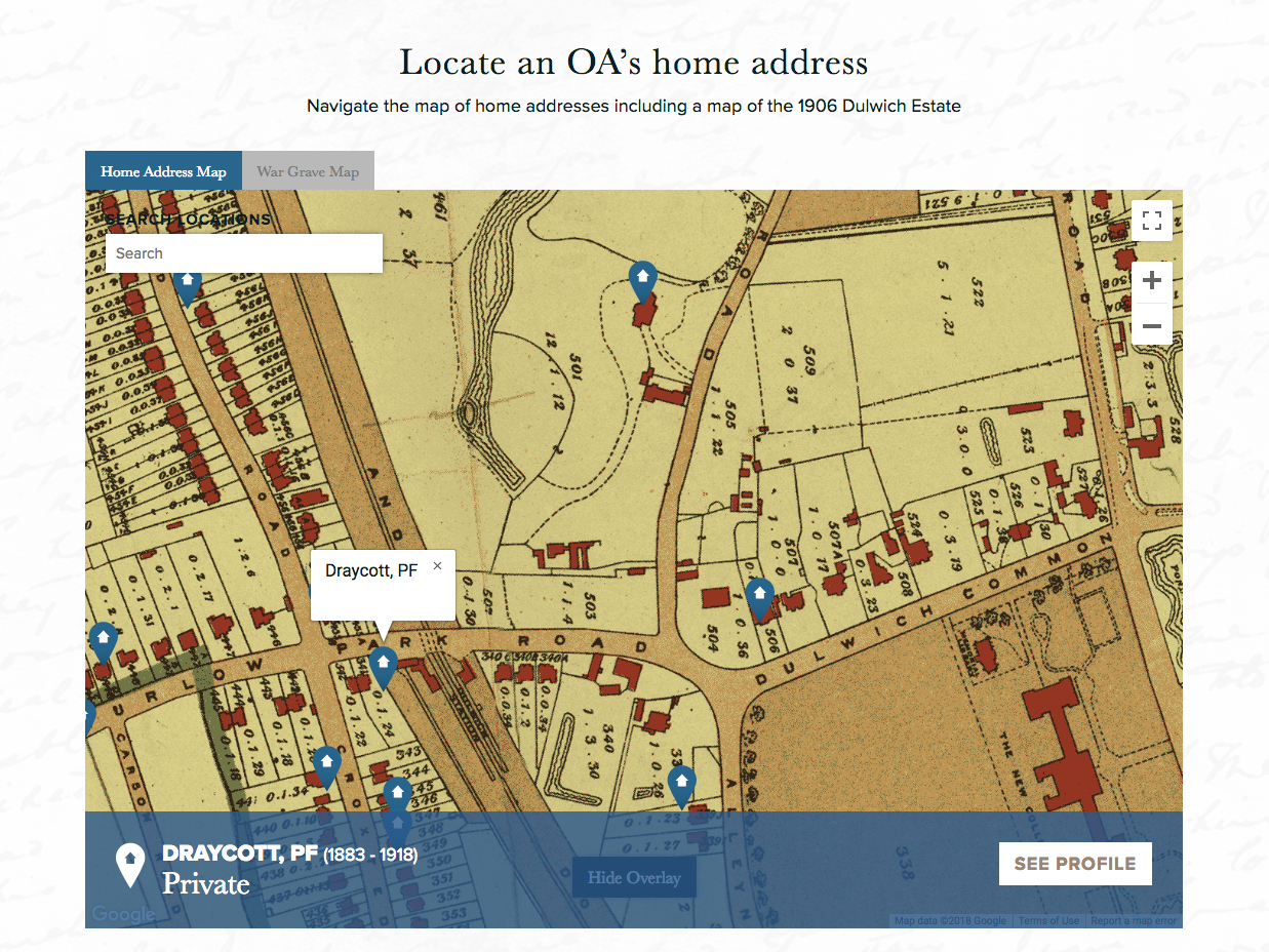 Dulwich College Fallen of the Great War Website - Home Map