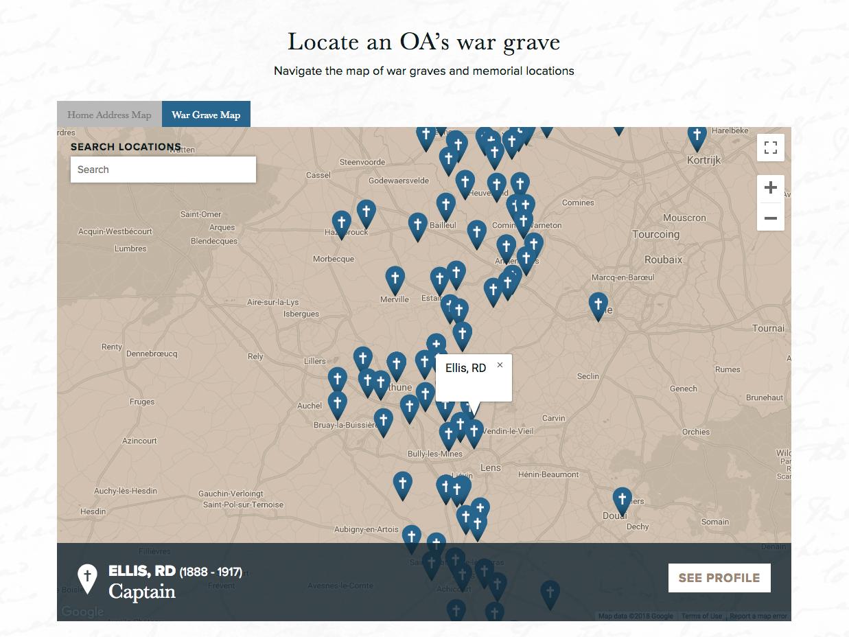 Dulwich College Fallen of the Great War Website - War Grave Map
