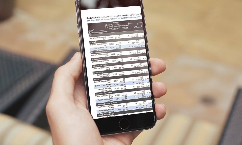 National Joint Registry mobile website design