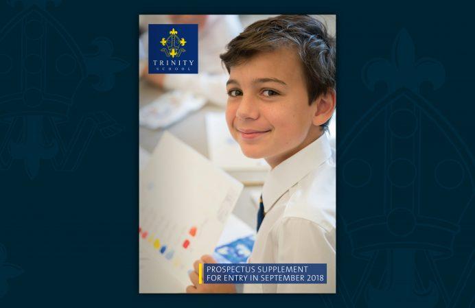 Trinity school prospectus brochure layered spread 1 cover