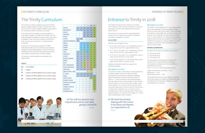 rinity school prospectus brochure design - spread 2