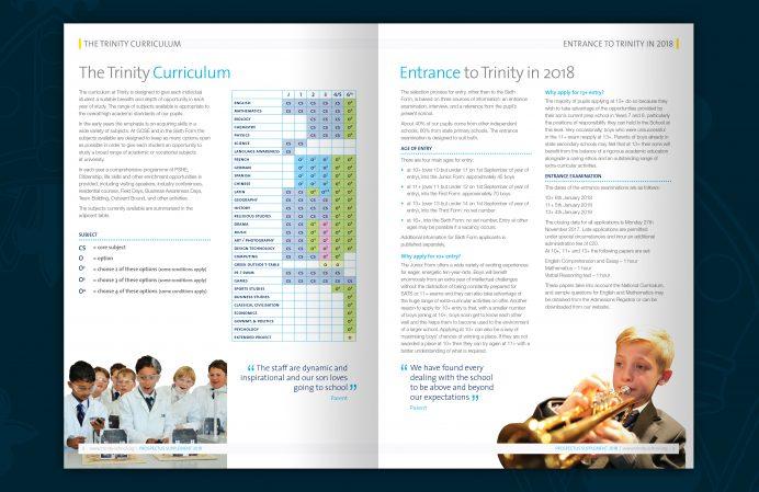 rinity school prospectus brochure design - spread 2