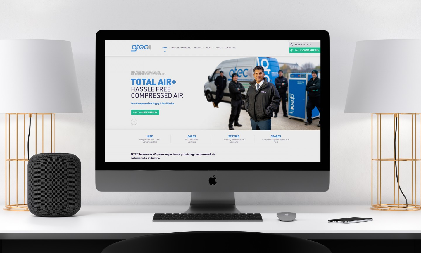 GTEC website design - home page