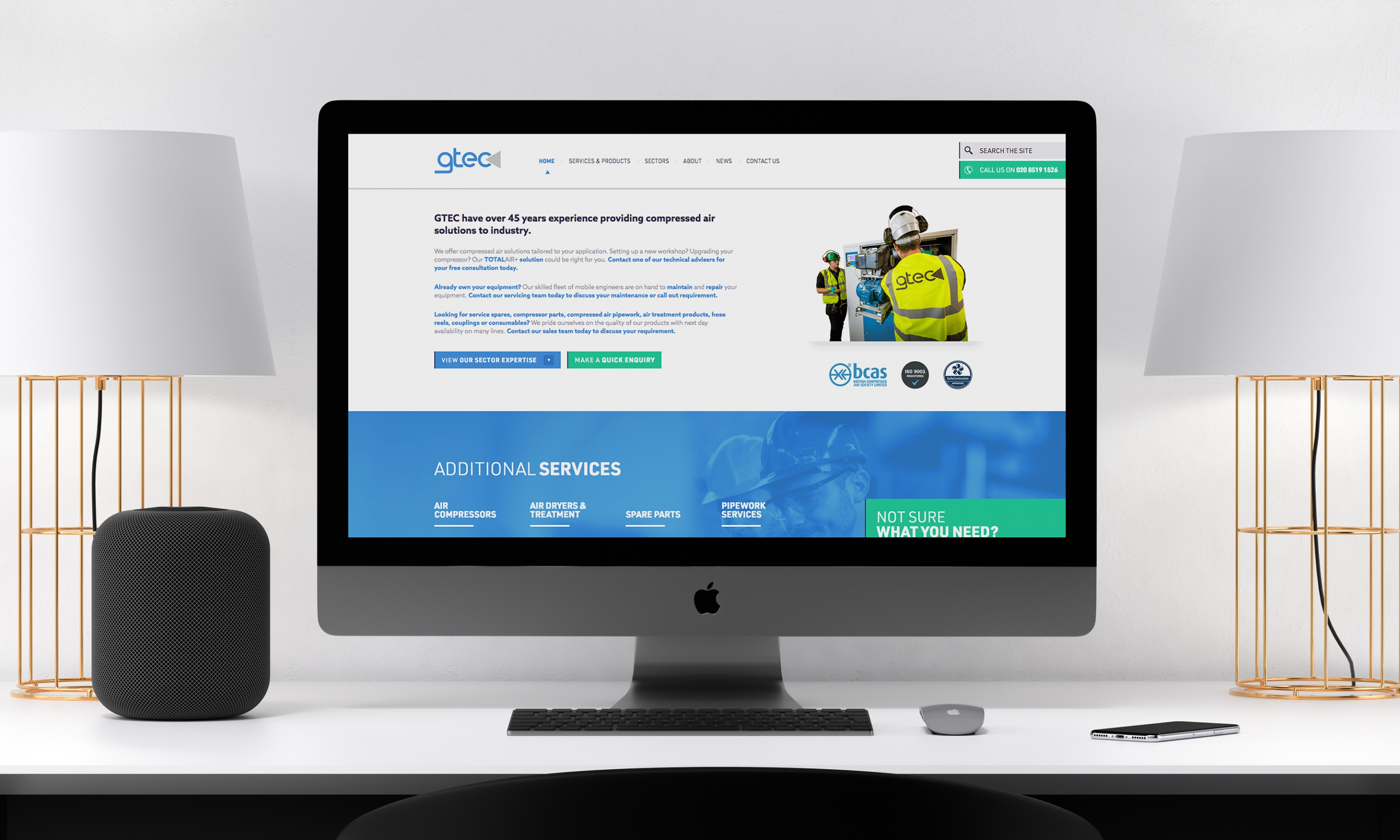 GTEC website design - internal page
