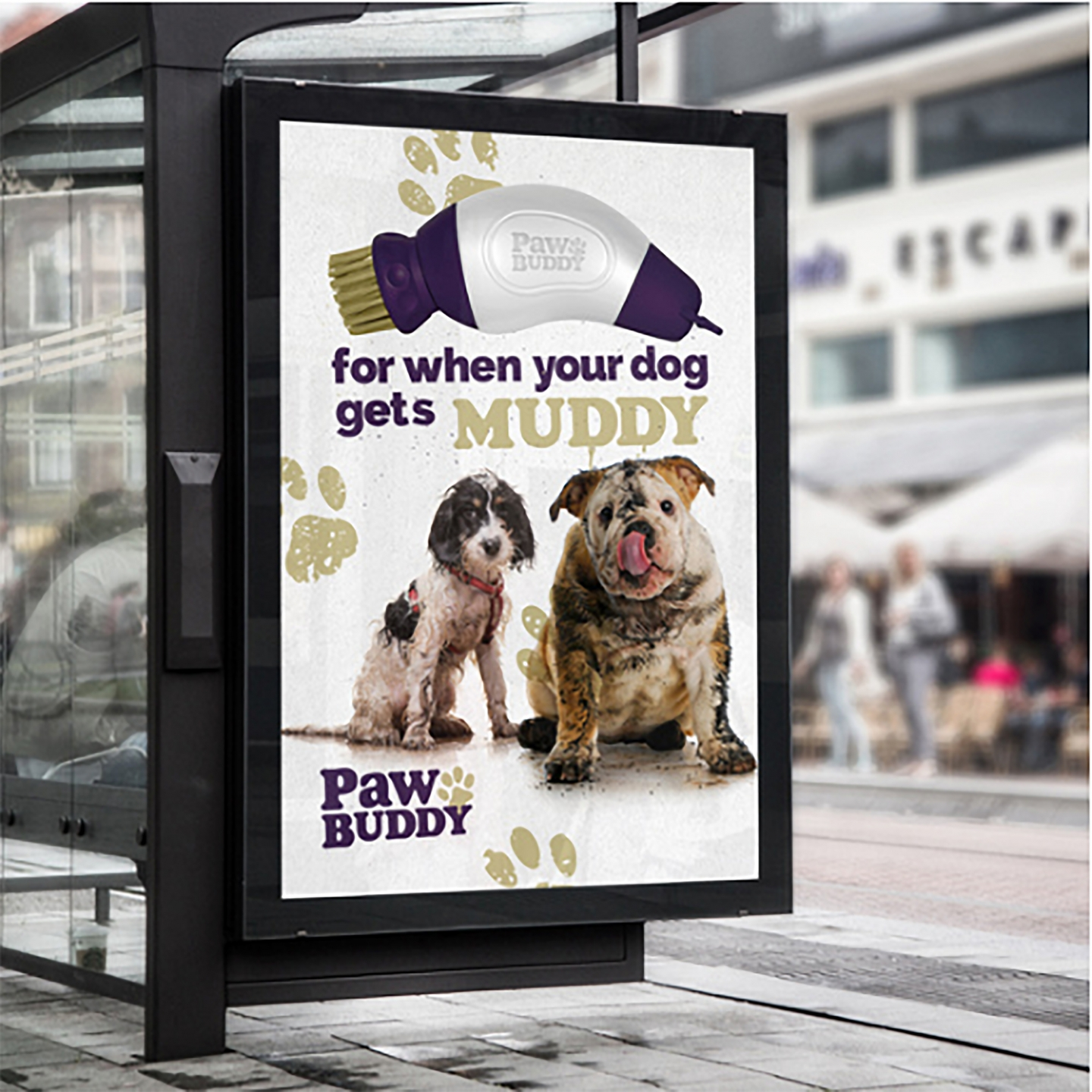 Paw Buddy large format bus stop advertisement