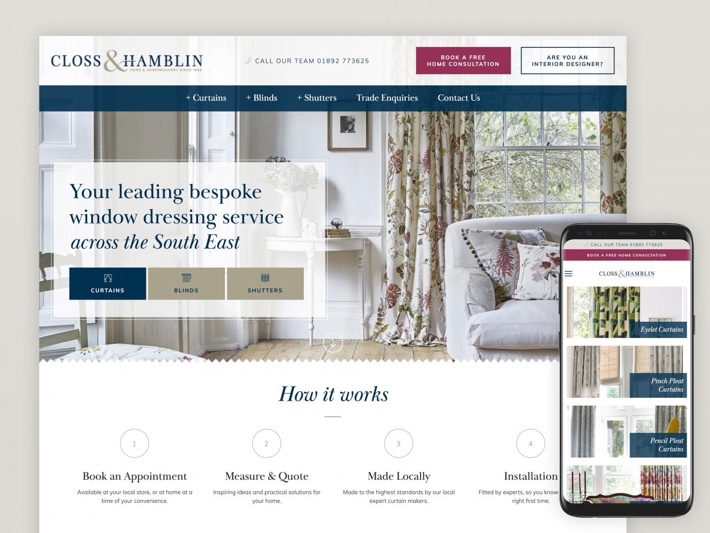 Website design and development - Closs and Hamblin Interiors