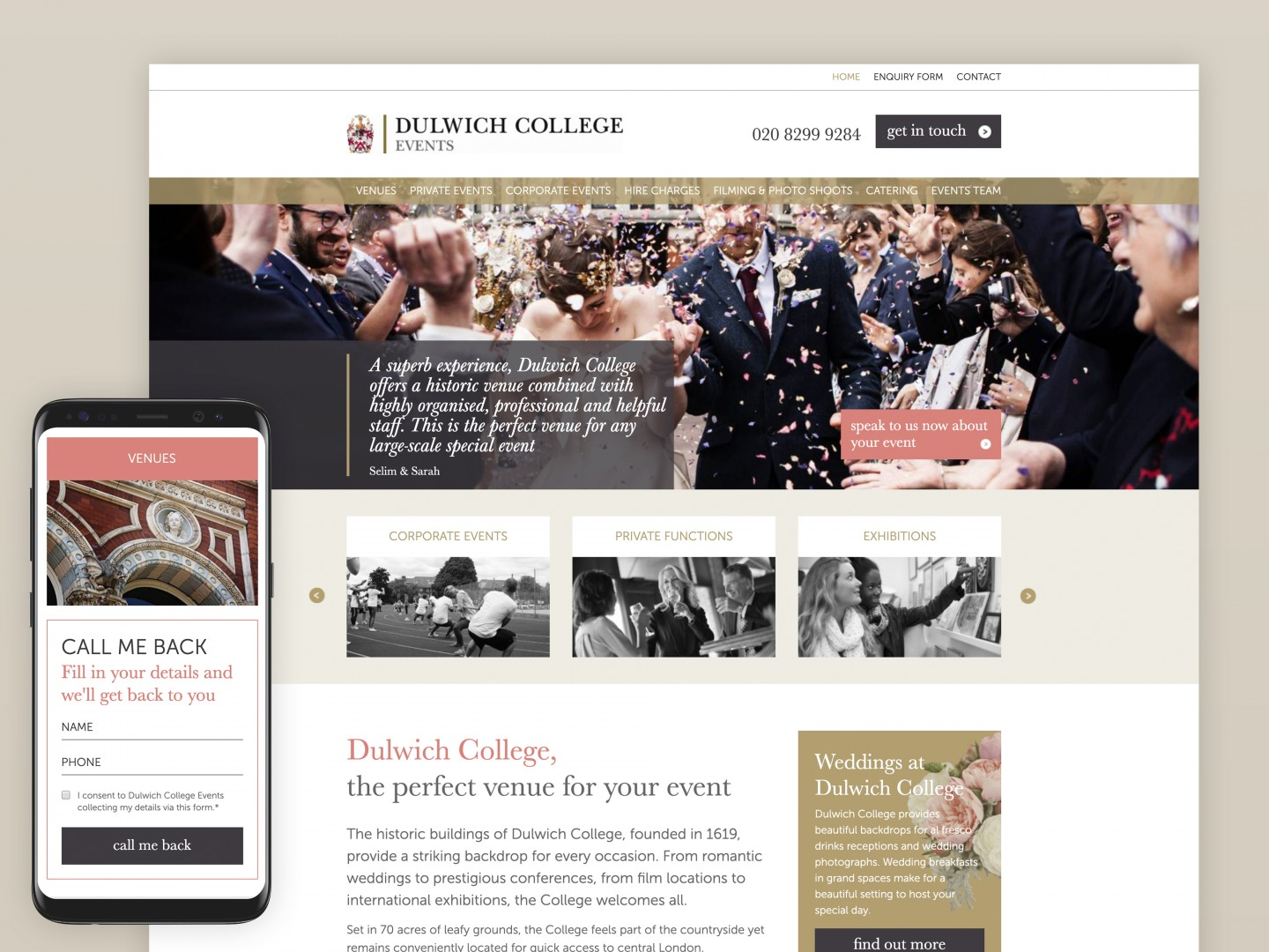 Website development and design - Dulwich College Events