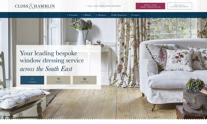 Website design and build - Closs & Hamblin - home page